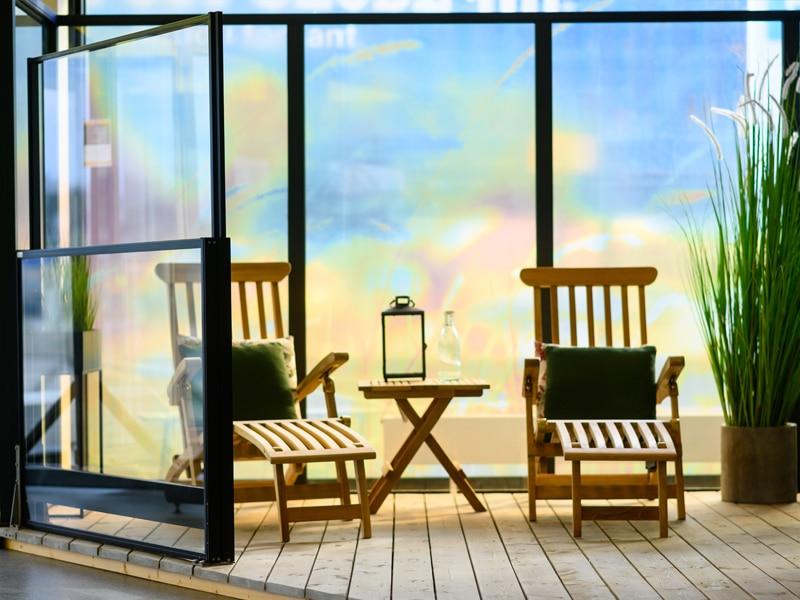 levegg i glass på terrassen haugesund / karmøy